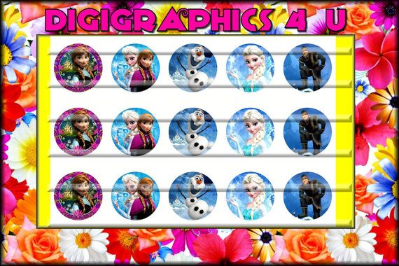 Frozen Inspired 1 inch Bottle Cap Images for by DigiGraphics4u, $1.49