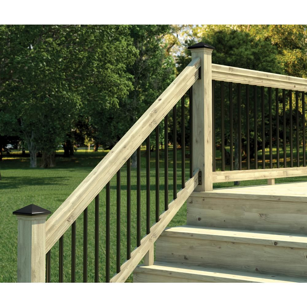 Weathershield 6 Ft Pressure Treated Stair Railing Kit With Black | Home Depot Hand Railing Exterior | Composite | Pressure Treated | Wrought Iron Railing | Baluster | Metal
