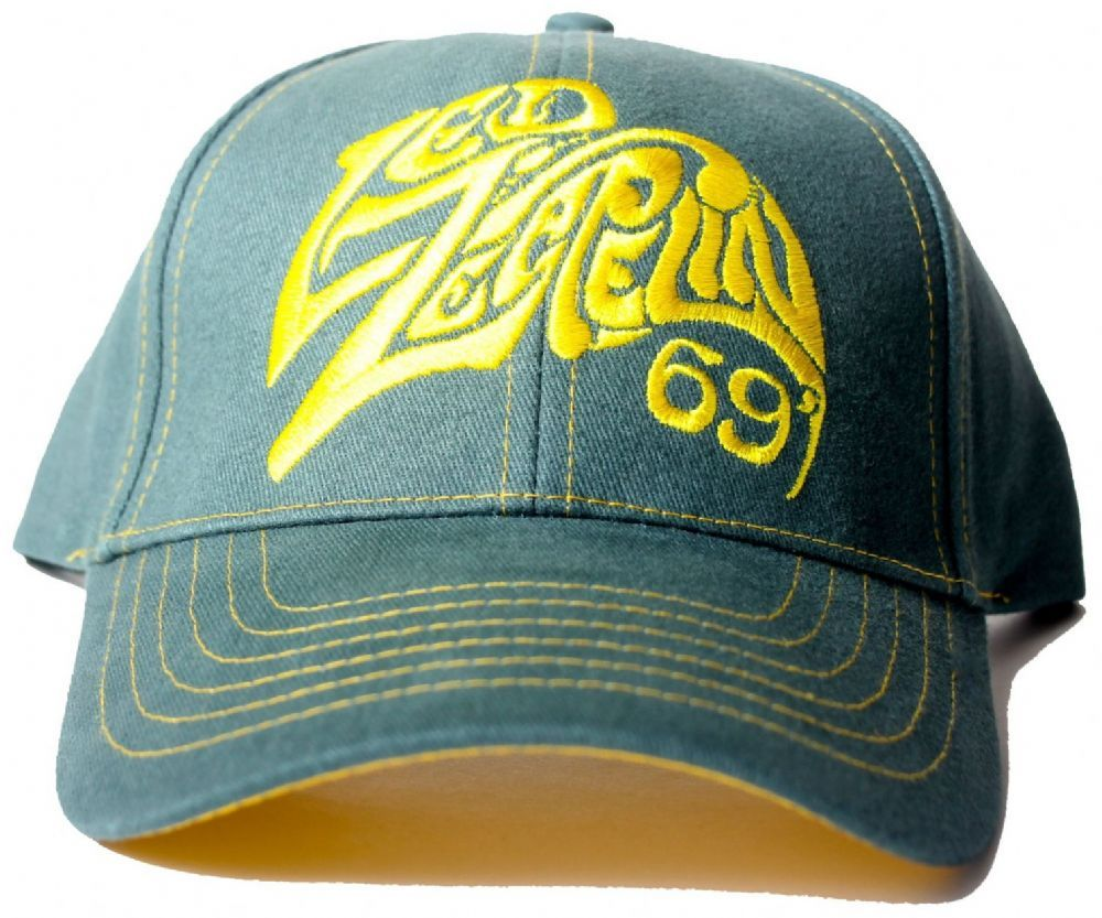 Official Led Zeppelin Baseball Cap featuring the Logo 69 design emboidered  on the front and symbols on the back in Yellow with adjustable strap d8ccbc2a89e