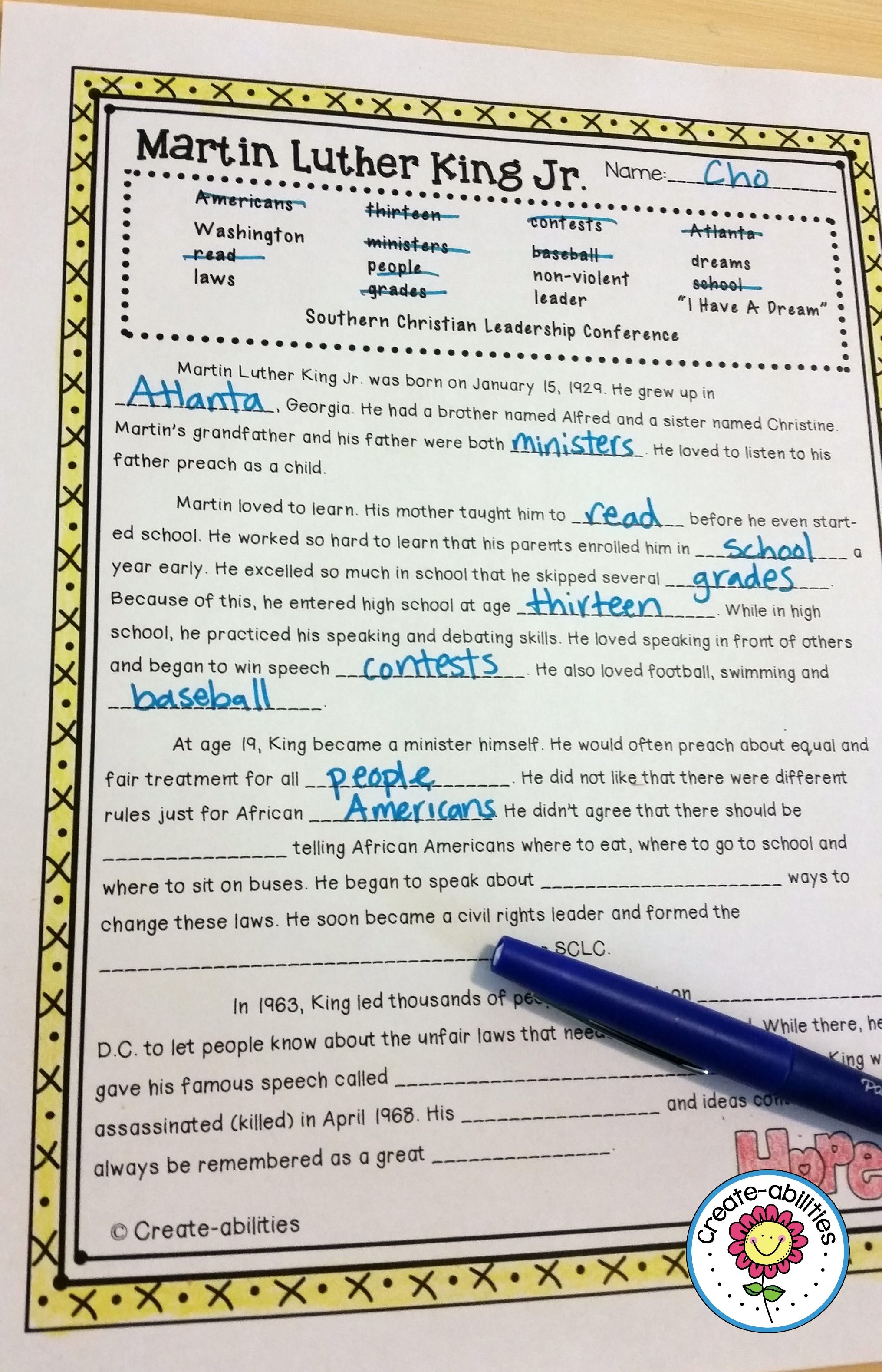 Martin Luther King Jr Reading And Writing Activities