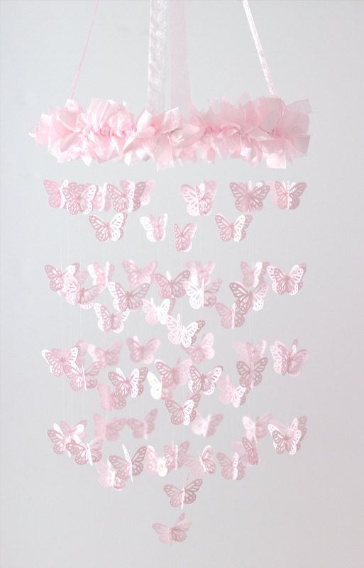 Pink Nursery Mobile Chandelier Butterfly Mobile Baby