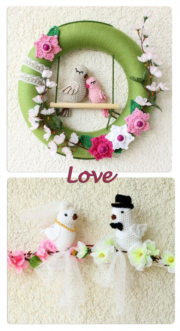 Photo of Crochet wreath // Decorative wreath with lovebirds