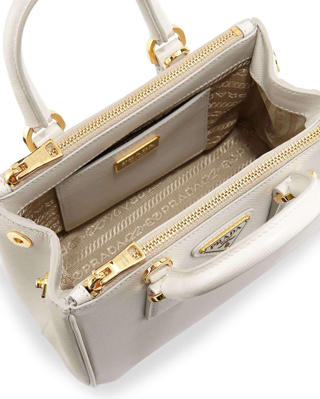 03c151699d ... official store saffiano mini galleria crossbody bag white talco prada  handbags luxury handbags 86cd7 66e79 czech prada saffiano mini galleria  double zip ...