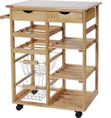 Pine Tile Top Kitchen Trolley At Argos Co Uk Visit