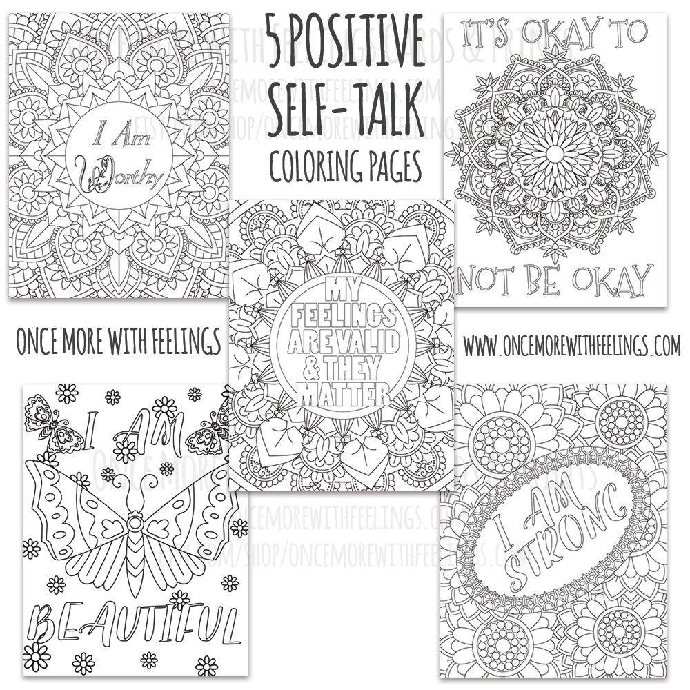 Positive Self-Talk Mandalas & Flowers Printable Coloring ...