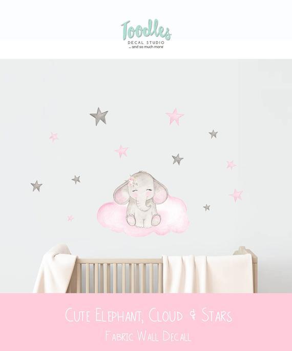 Elephant Fabric Wall Decal Watercolor Cloud Sticker Girls Cute
