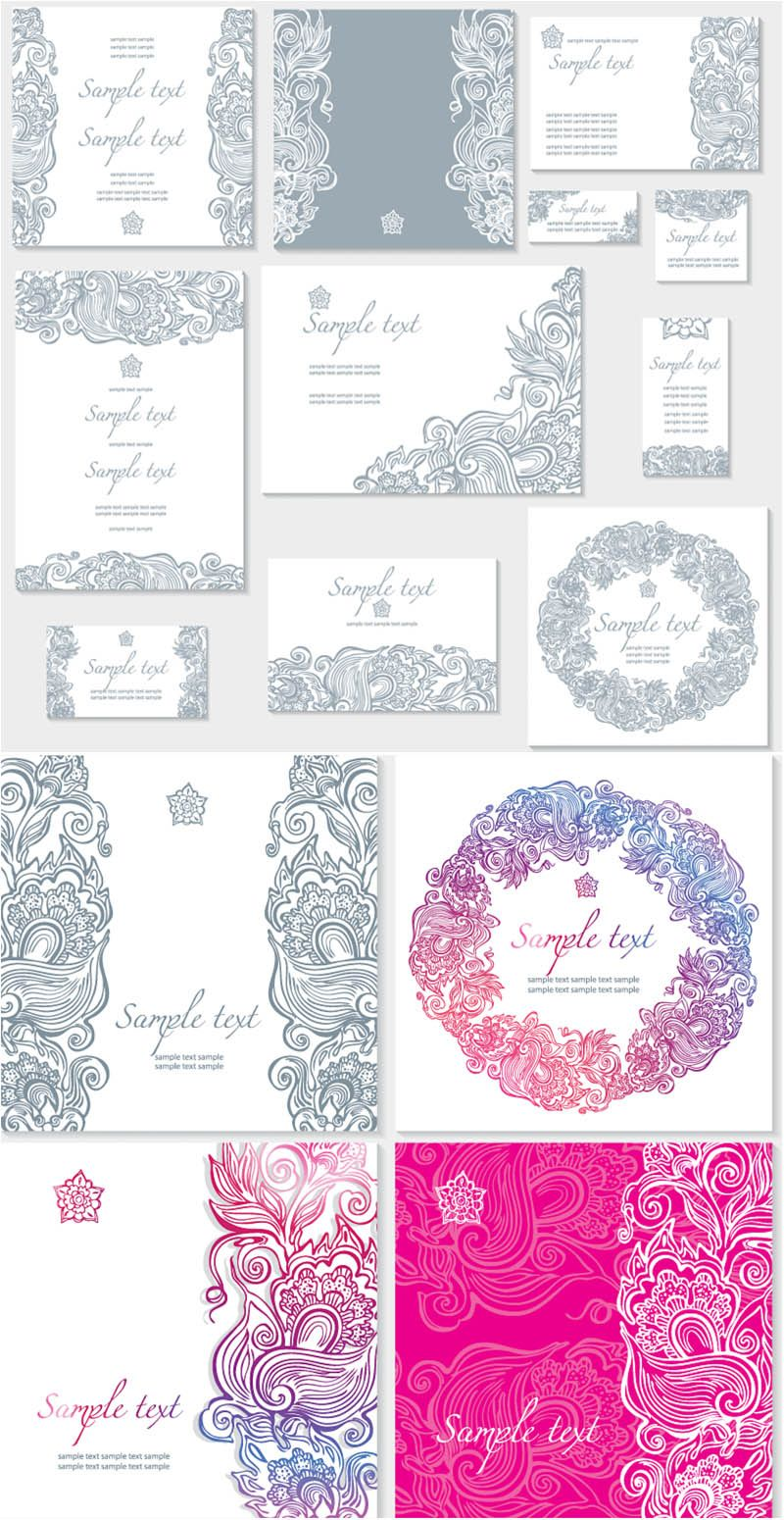 Floral ornate wedding invitation templates vector vector and floral ornate wedding invitation templates vector stopboris Image collections