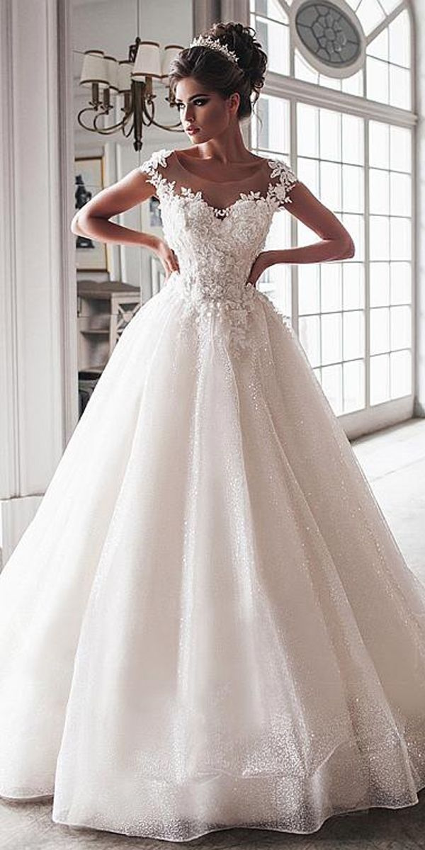 Photo of Magbridal Beautiful Tulle Scoop Neckline Floor-length Ball Gown Wedding Dresses …