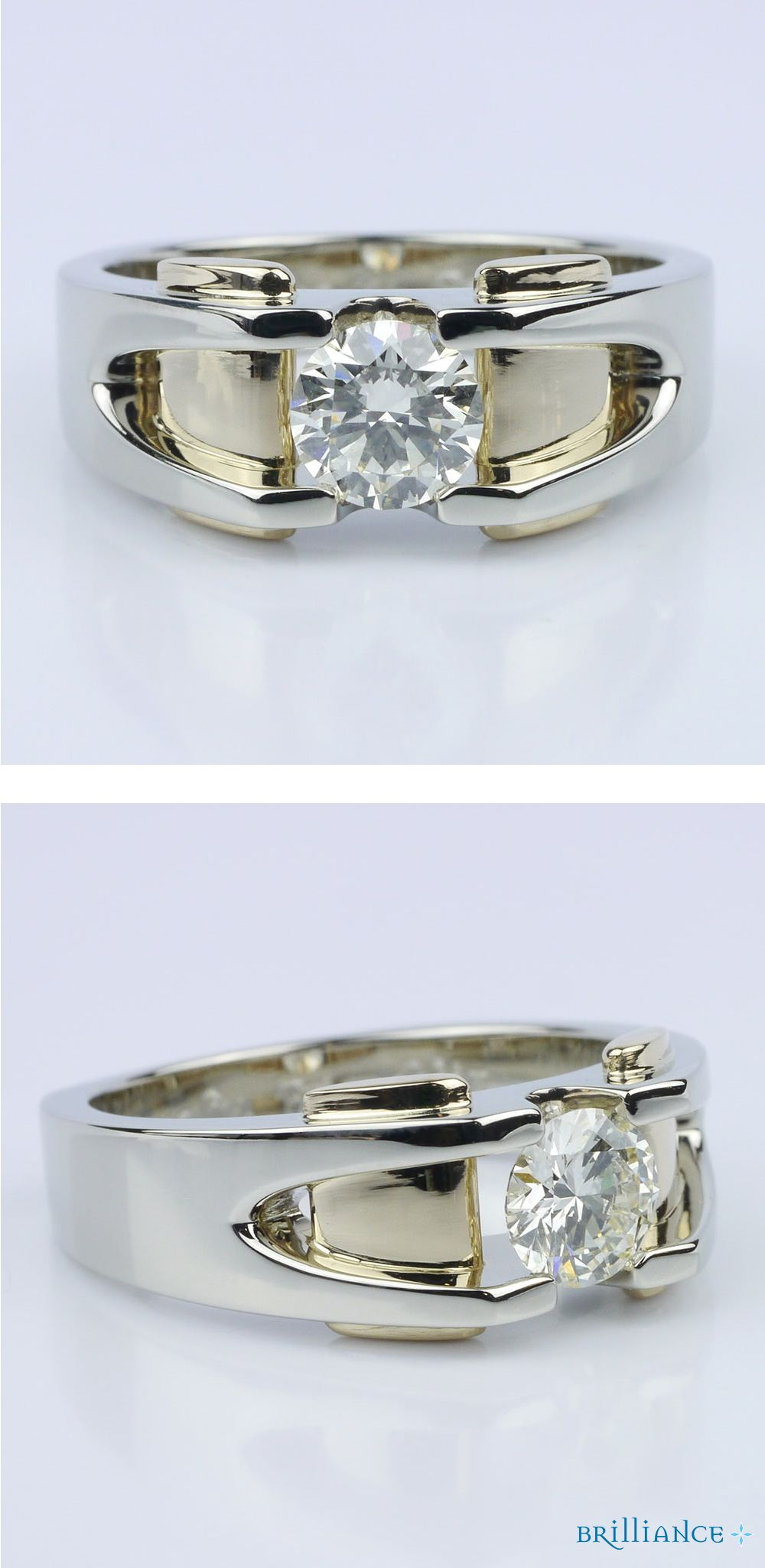 Custom Two Tone 14K Men's Wedding Ring Modern wedding