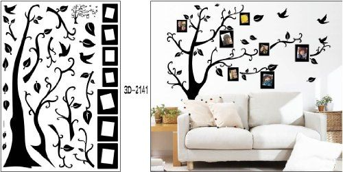 Large Diy Removable Wall Decor Decal Stickers Black Photo Picture Frame Tree Sheet Size X