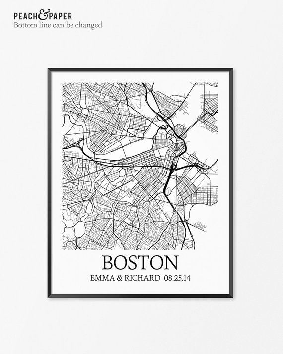 Boston Map Art Print Boston Poster Map Of Boston Decor Boston City