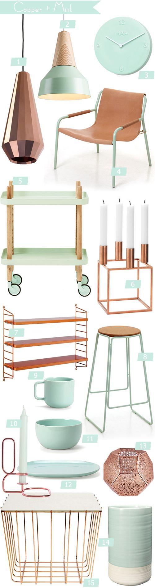 Colour Crush {Copper + Mint} Gold and copper home decor ideas and ...