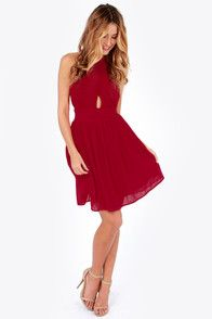 Exclusive This Twist, This Twist Wine Red Halter Dress | Red ...