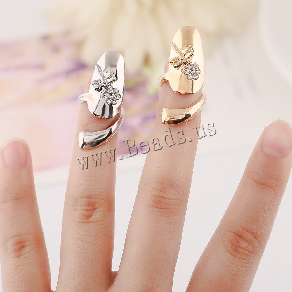 Zinc Alloy Nail Finger Ring, Dragonfly, plated, with rhinestone, more colors for choice, nickel, lead & cadmium free, 32x12mm, US Ring Size:3,china wholesale jewelry beads