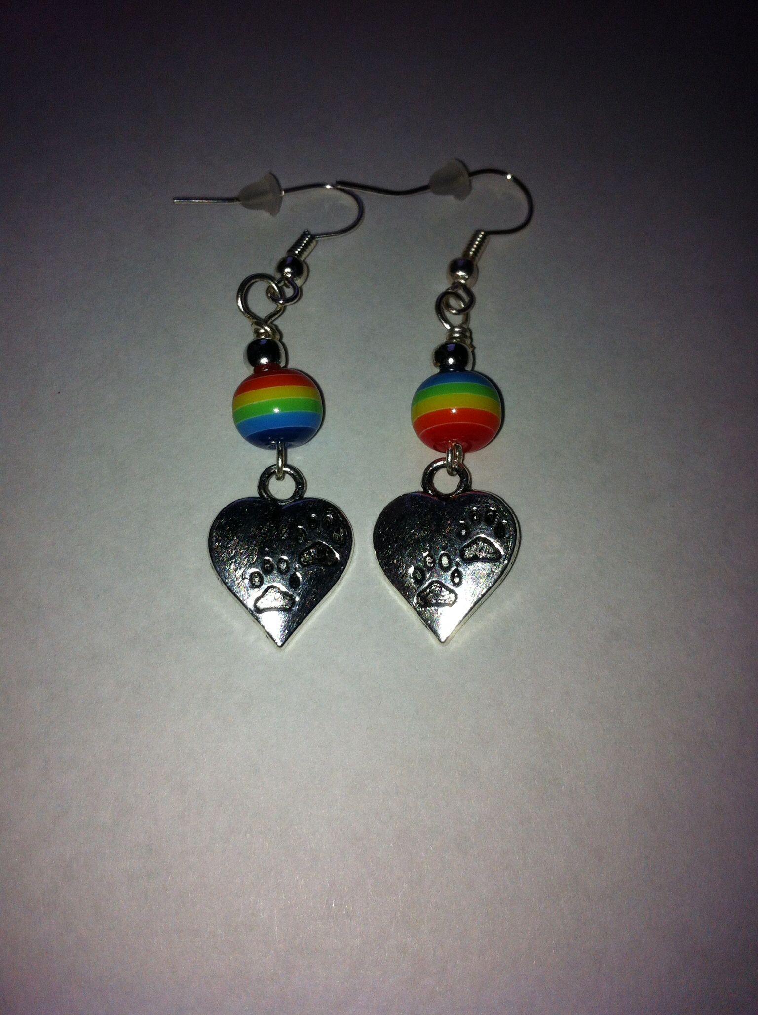 Rainbow beads and pawprint heart charm earrings #etsy, #MoggysMall, #heart, #pawprints, #rainbow, #cat, #earrings