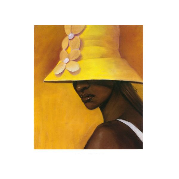 Yellow Hat Wall Art Print ($20) ❤ liked on Polyvore featuring home ...