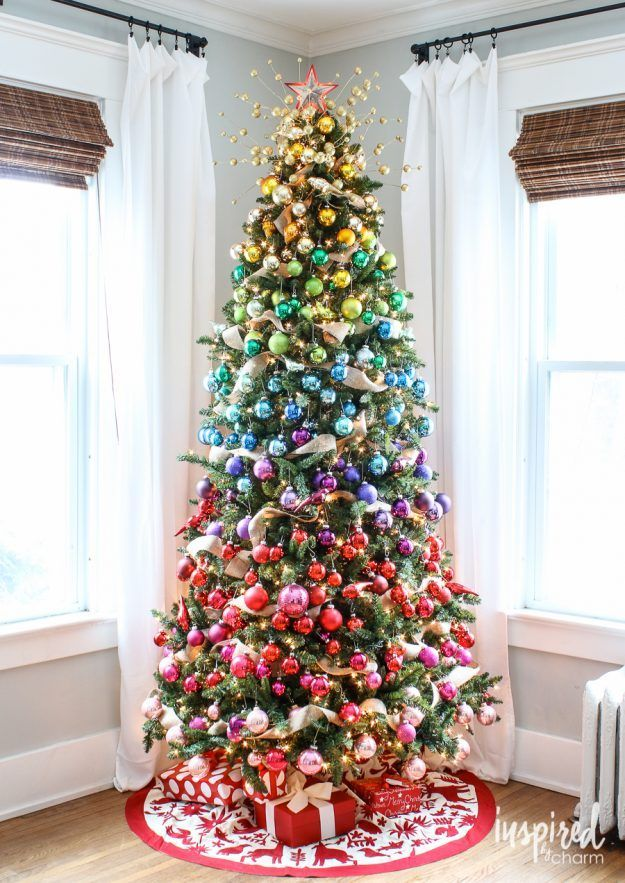 Christmas Tree Decorating Ideas Rainbow Effect With Ornaments So Pretty Rainbow Christmas Tree Rainbows Christmas Creative Christmas Trees