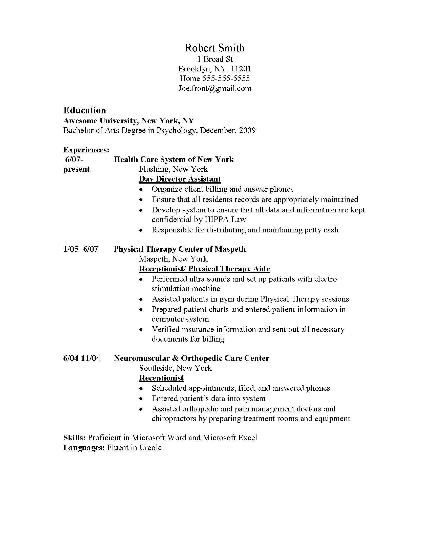 Receptionist Skills Resume Day Camp Counselor Sample Resume Financial Business Analyst Cover