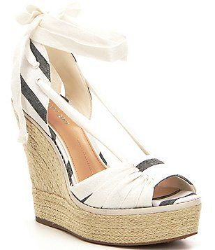 cb2c9c34a94d Gianni Bini Raedy Striped Canvas Ankle Tie Espadrille Wedge Sandals Gianni  Bini Shoes