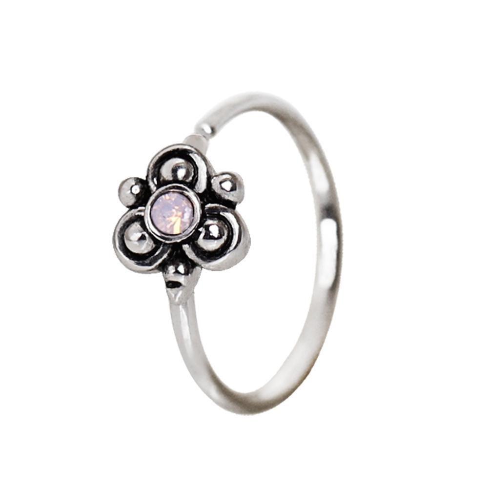 316l surgical steel pink ornate flower nose hoop