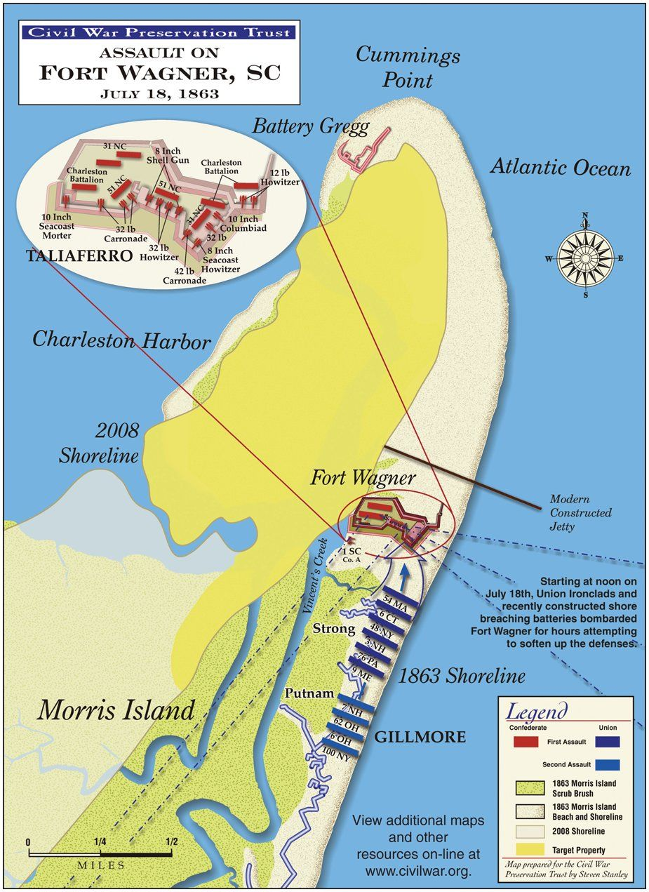 Fort Wagner Was A Fort That Was On Morris Island In Charleston - Fort sumter on us map