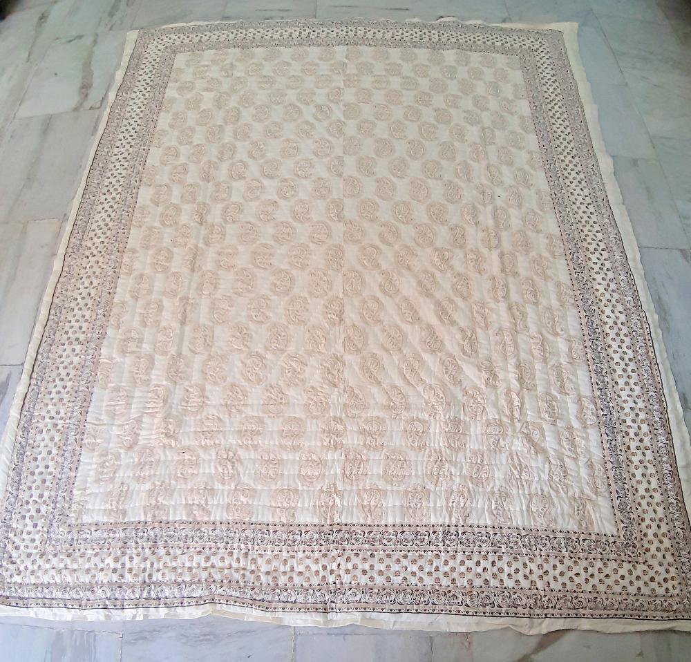 Jaipuri Razai Designer Handmade Double Bed Quilt Cotton Hand block Quilt printed Quilts Mughal Print Blanket Quilt Size 90x108 Inch