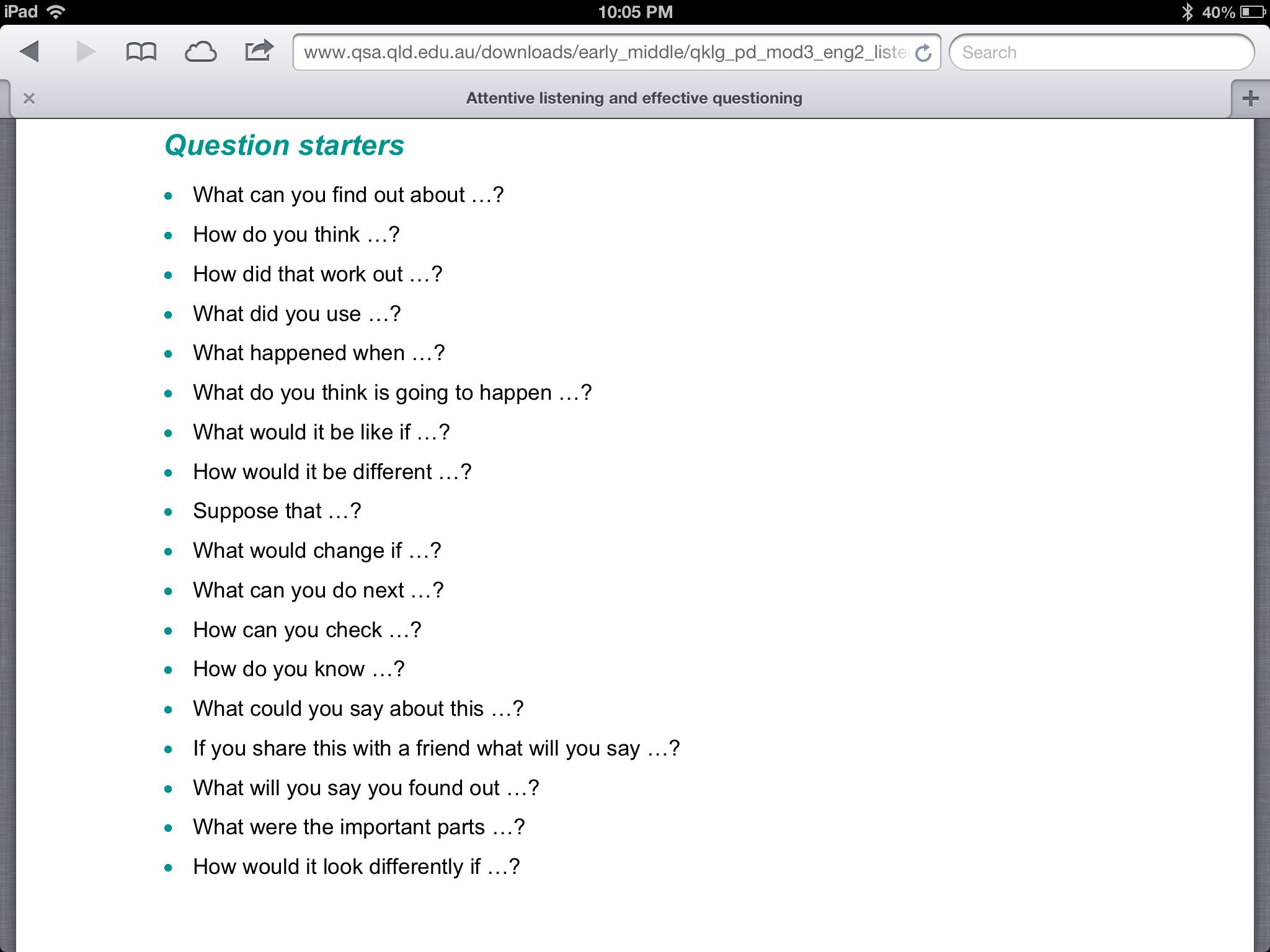 Open Ended Question Starters