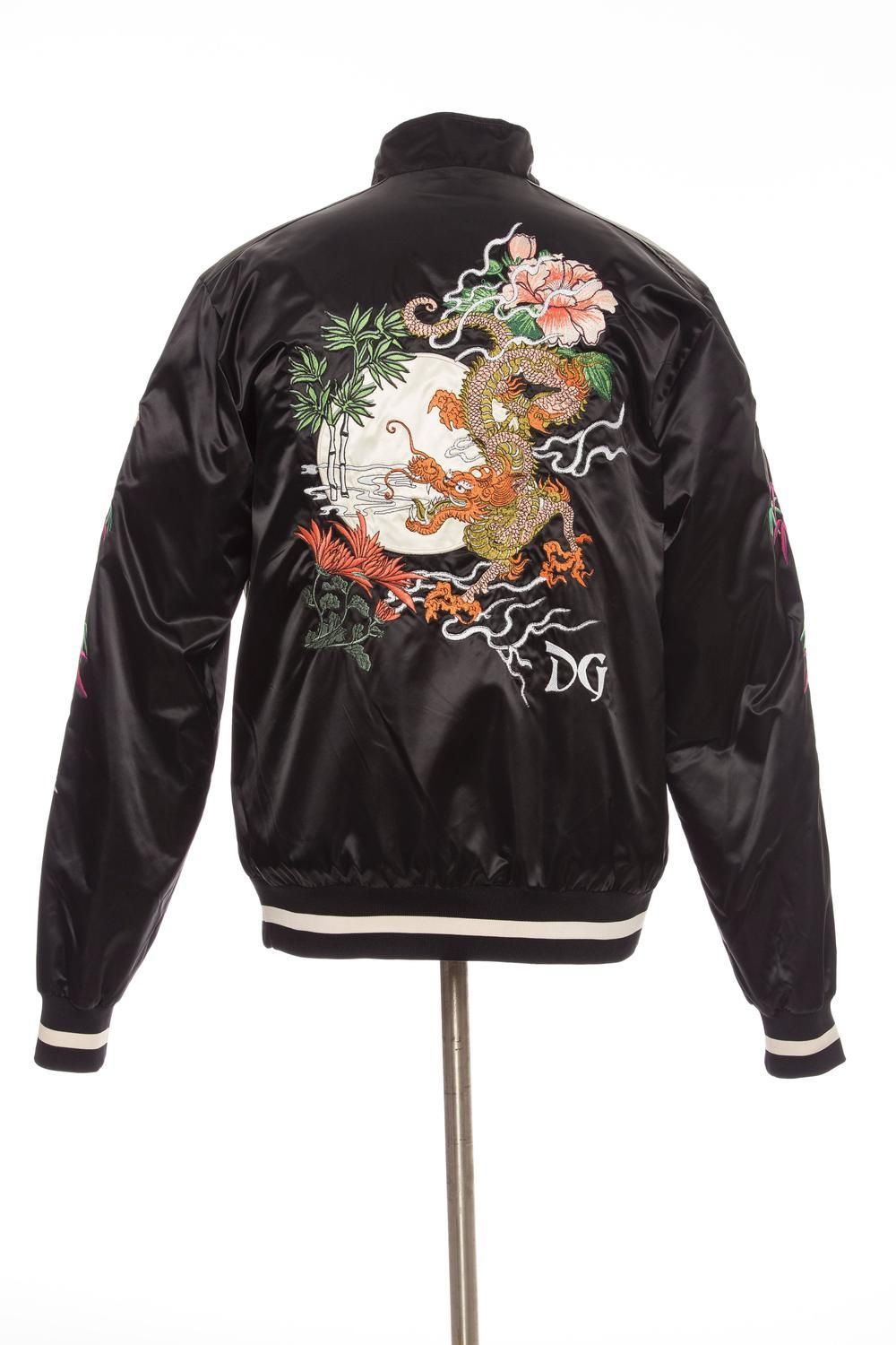 5ff075c02 Dolce and Gabbana Men's Black Satin Floral And Dragon Embroidered ...