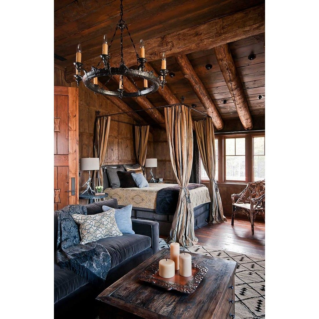 rustic log cabin bedroom with cozy canopy bed, yay or nay