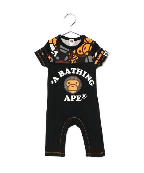 BAPE KIDS(ベイプキッズ)のALL BABY MILO MIX FOOTBALL ROMPERS(Tシャツ/カットソー) ブラック