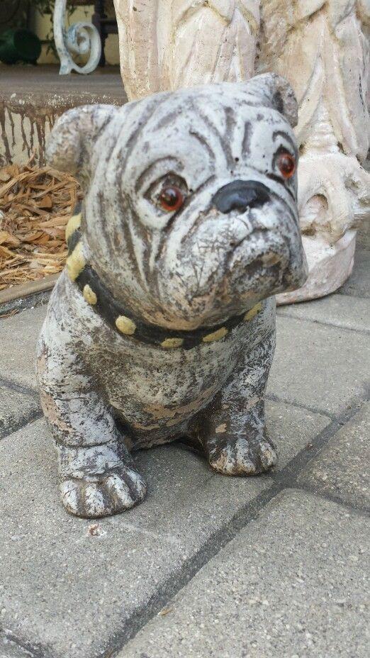 Vintage Painted Concrete Bulldog Statue Monument Liverpool England