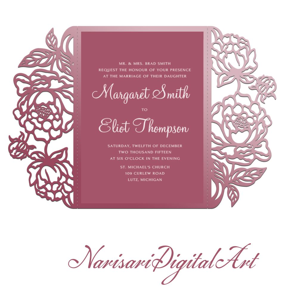 TriFold pocket envelope Peonies wedding invitation template SVG – Studio Cards Wedding Invitations