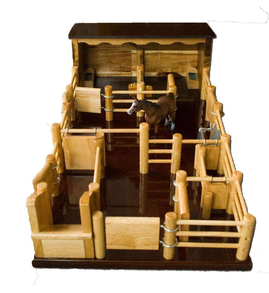 two horse stable with yard - handmade wooden toy - st5