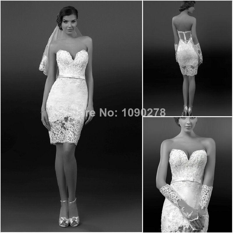 2014 Latest Style Sheath Sexy Lace Sweetheart Sheer Zipper Back Knee Length Bow Belt Short Beach Wedding Dress
