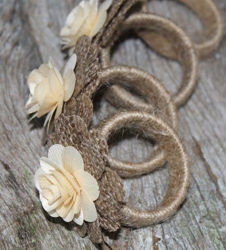Rustic Napkin Rings Burlap and Wood Roses- Set of 4 #diynapkinfolding