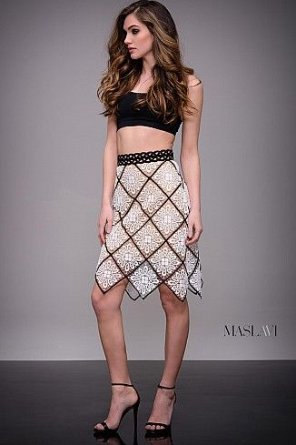 Ivory and Black Embroidered Ready to Wear Skirt by Maslavi M54865