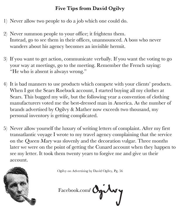 Five Tips from David Ogilvy David Ogilvyu0027s Memos, Letters, and - business memo