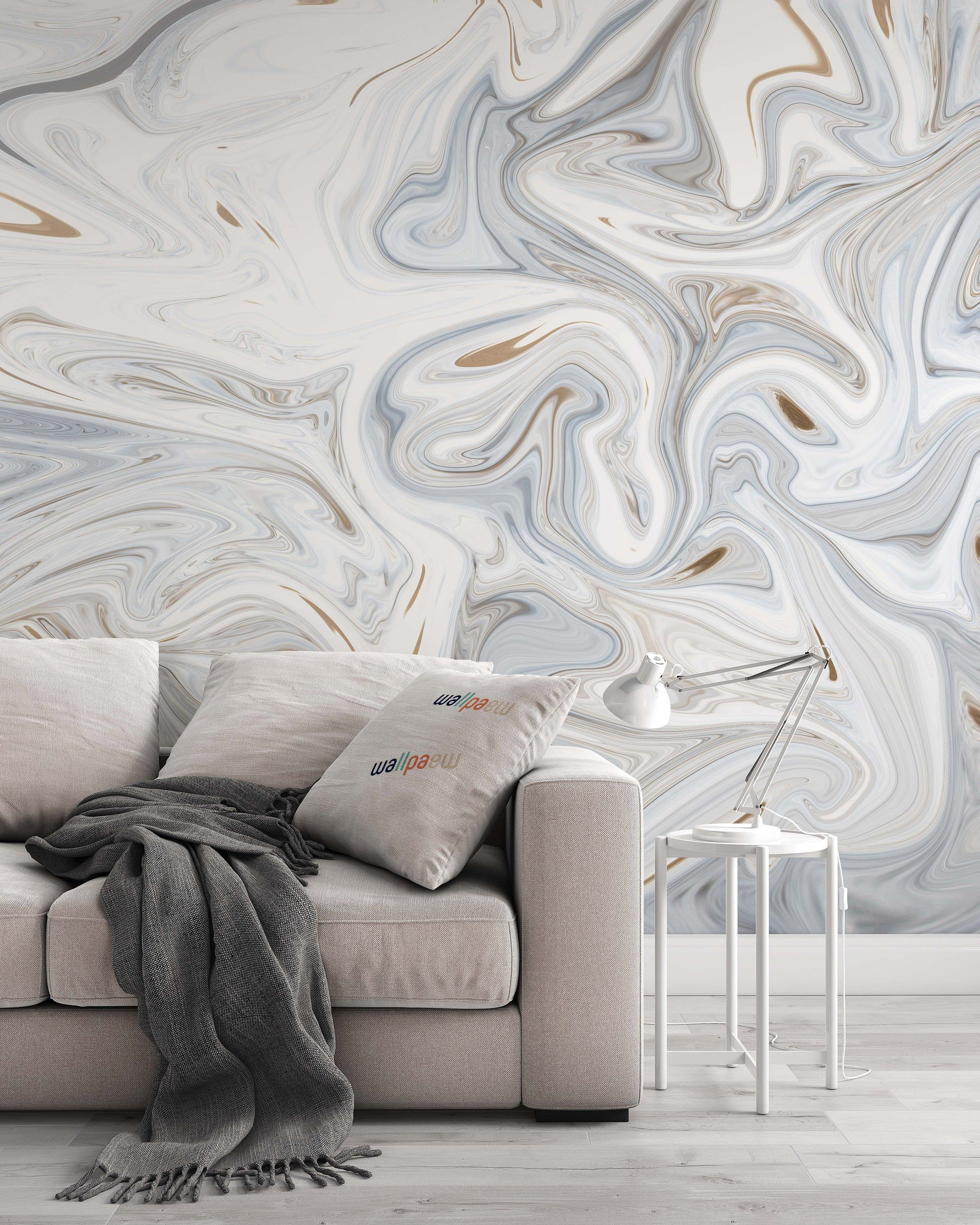 Abstract Painting White And Gray Background Modern Wallpaper Etsy Bedroom Murals Modern Wallpaper Home Decor Wall Art