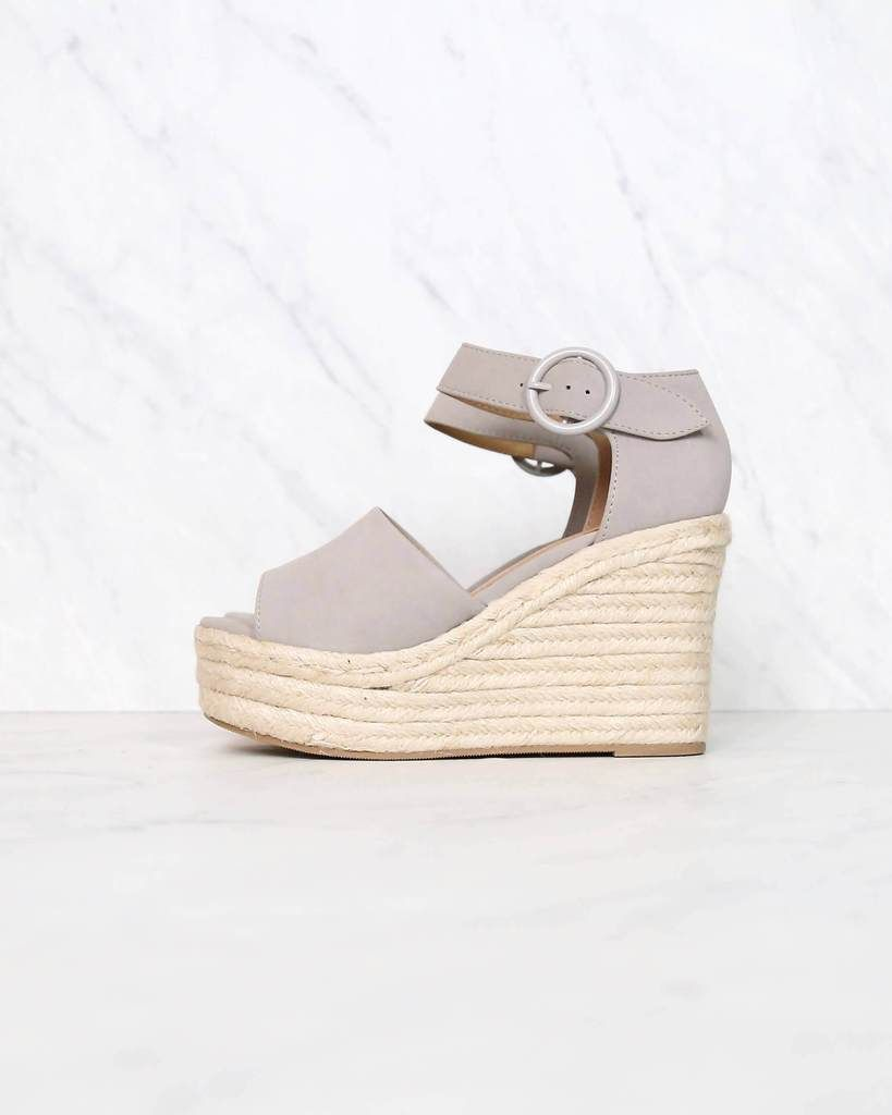 87a7b1313d9 Sassy Espadrille Wedges in Light Grey in 2019 | { shophearts.com ...
