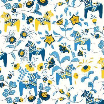 Schwedische traditionelle muster  Dieser einzigartige Baumwollstoff von Arvidssons Textil zeigt die ...