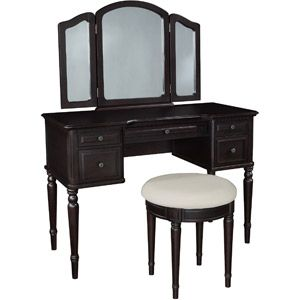 Classic Vanity With Tri Fold Mirror And Bench Espresso Walmart Com Trifold Mirror Vanity Set Powell Furniture