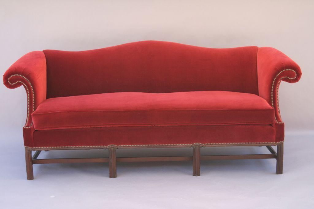 Crimson Velvet Camel Back Sofa The O 39 Jays Dining Rooms And Furniture