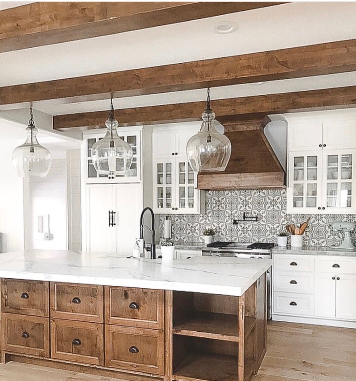 wood island white cabinets white counter tops kitchen remodel small farmhouse kitchen design on farmhouse kitchen small id=66304