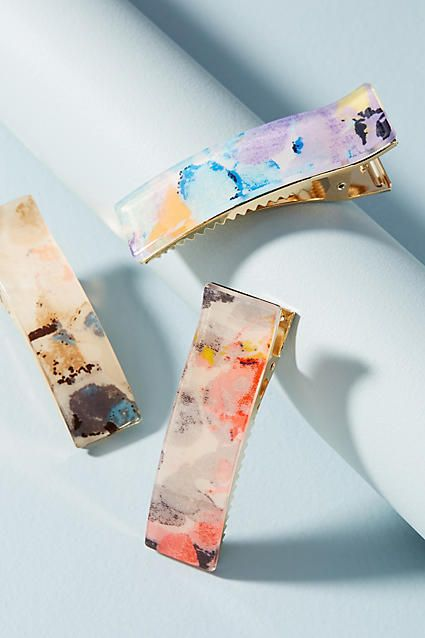 461701fc2 Anthropologie Watercolor Hair Clip Set Simple touch for a casual day.  Afflink.