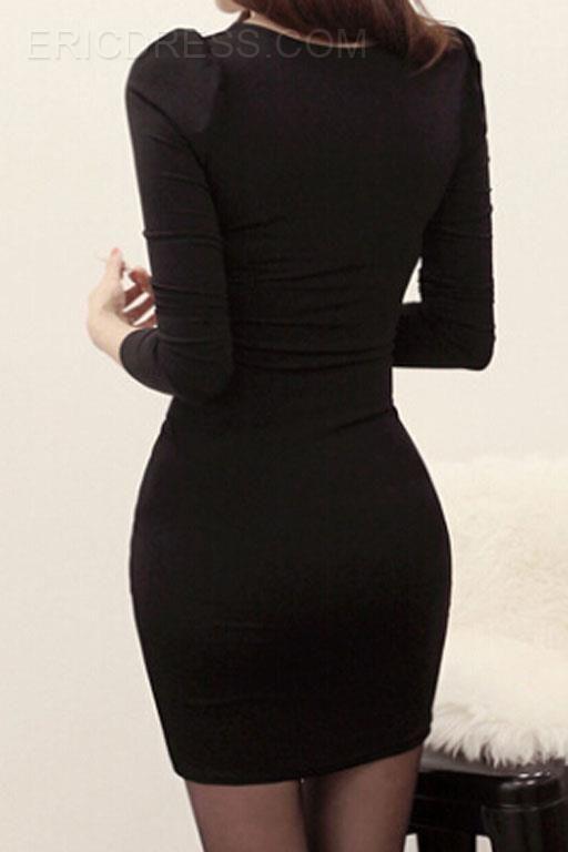 Ericdress Sexy Oblique Buckle Folds Dress Sheath Dresses