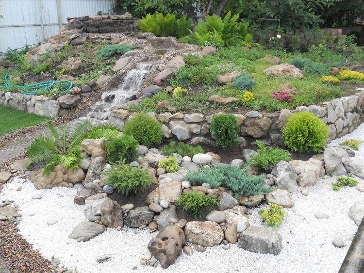 Steingarten mit Wasserfall und immergrünen Pflanzenarten | Garten ...