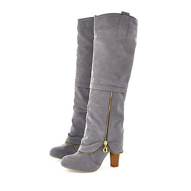 Suede Chunky Heel Knee High Boots Party / Evening Shoes With Zipper (More Colors) – USD $ 23.99