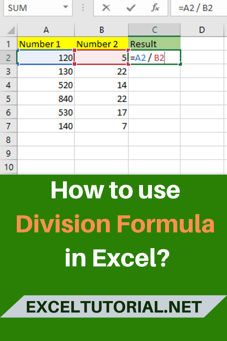 How To Use Division Formula In Excel Microsoft Excel Excel Shortcuts Microsoft Excel Tutorial