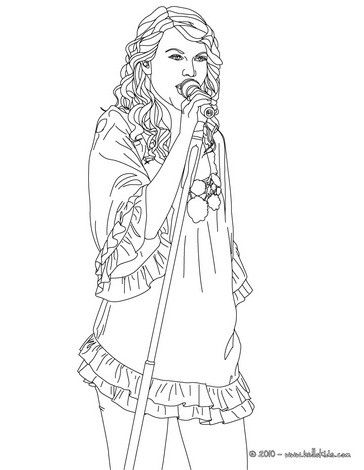 Taylor Swift Singing Coloring Page More Taylor Swift Content On Hellokids Com Hello Kitty Colouring Pages Coloring Pages To Print Coloring Pages