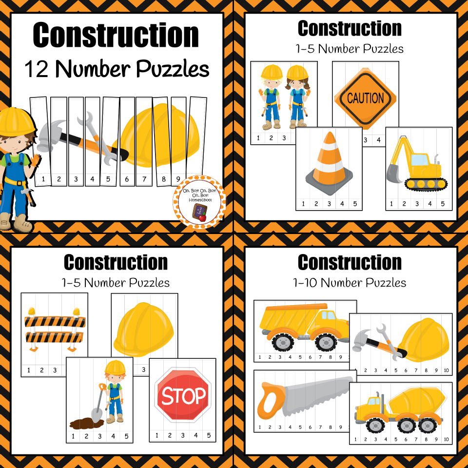 number puzzles construction number puzzles community helpers add these 12 number puzzles to your math center during your construction or community helper unit